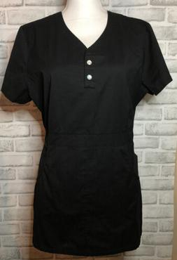 Koi By Kathy Peterson Scrub Top Large Solid Black Pockets